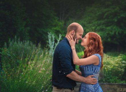 engagement photo in flower field