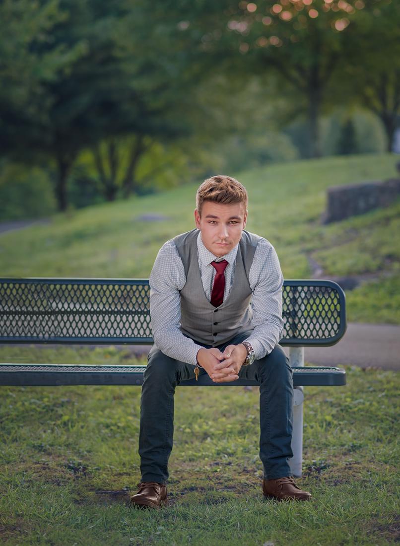 senior on a bench